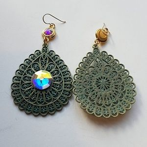GASOLINE GLAMOUR Jewelry - GYPSY MEDALLION patina drop OPAL earrings new